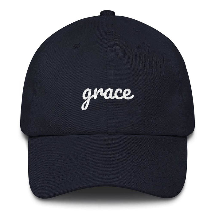 Grace Scribble Christian Adjustable Cotton Baseball Cap - One-size / Navy - Hats