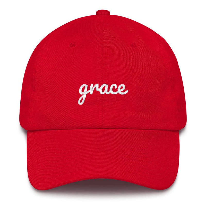 Grace Scribble Christian Adjustable Cotton Baseball Cap - One-size / Red - Hats