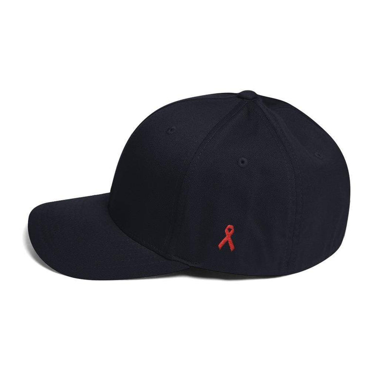 HIV/AIDS or Blood Cancer Awareness Fitted Flexfit Hat with Red Ribbon on the Side