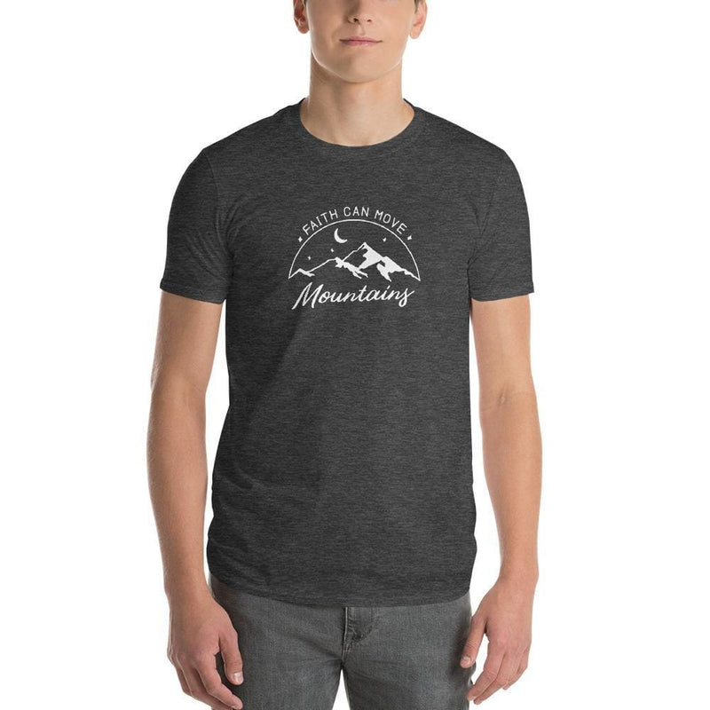 Mens Faith Can Move Mountains T-Shirt - S / Heather Dark Grey - T-Shirts
