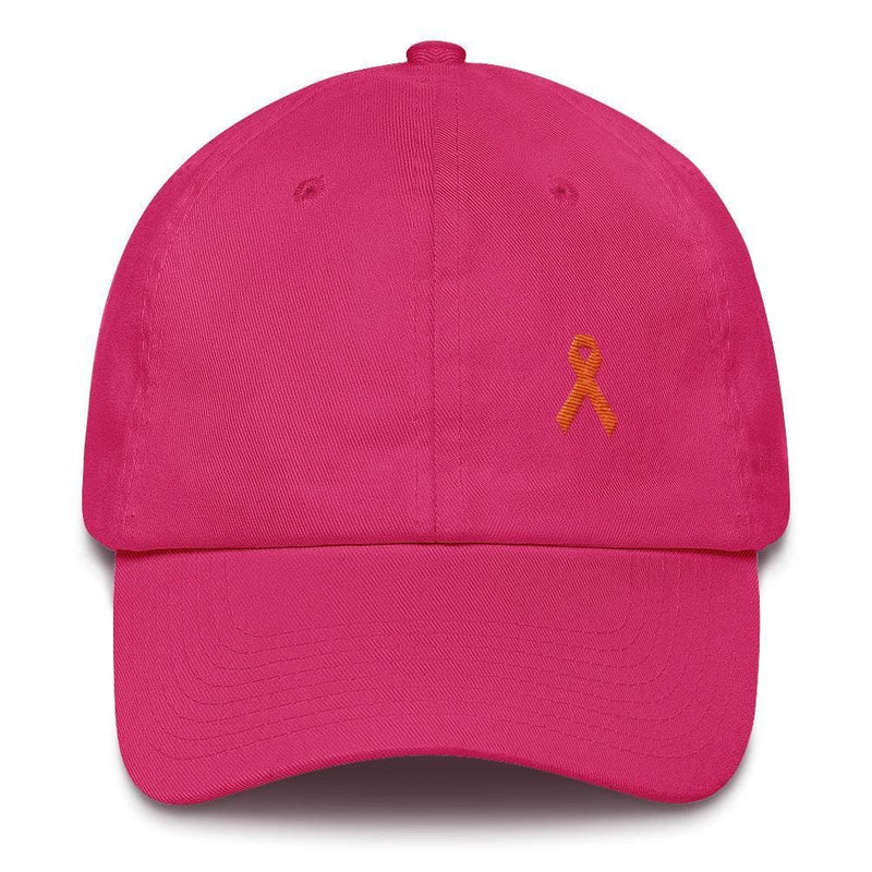 MS Awareness Dad Hat with Orange Ribbon - One-size / Bright Pink - Hats
