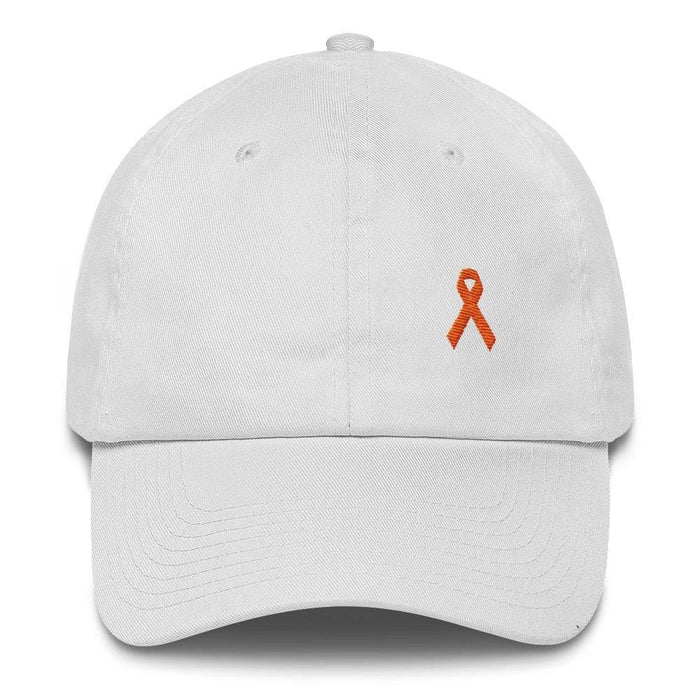 MS Awareness Dad Hat with Orange Ribbon - One-size / White - Hats