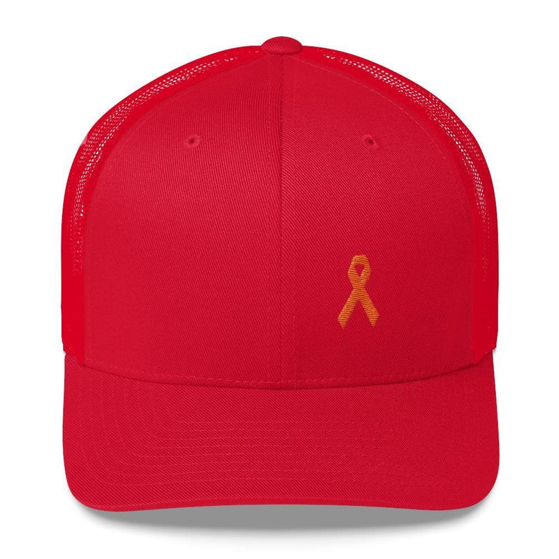 MS Awareness Orange Ribbon Snapback Trucker Hat - One-size / Red - Hats