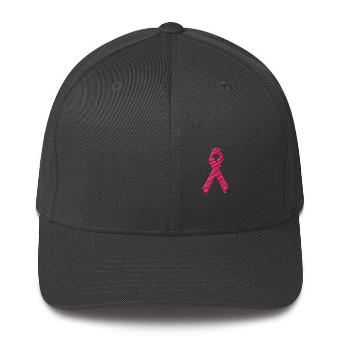 Pink Ribbon Fitted Flexfit Hat - Breast Cancer Awareness Hat - S/m / Dark Grey - Hats