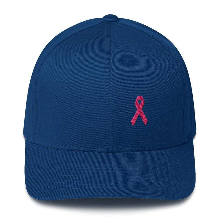 Pink Ribbon Fitted Flexfit Hat - Breast Cancer Awareness Hat - S/m / Royal Blue - Hats