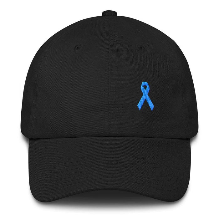 Prostate Cancer Awareness Dad Hat with Light Blue Ribbon - One-size / Black - Hats