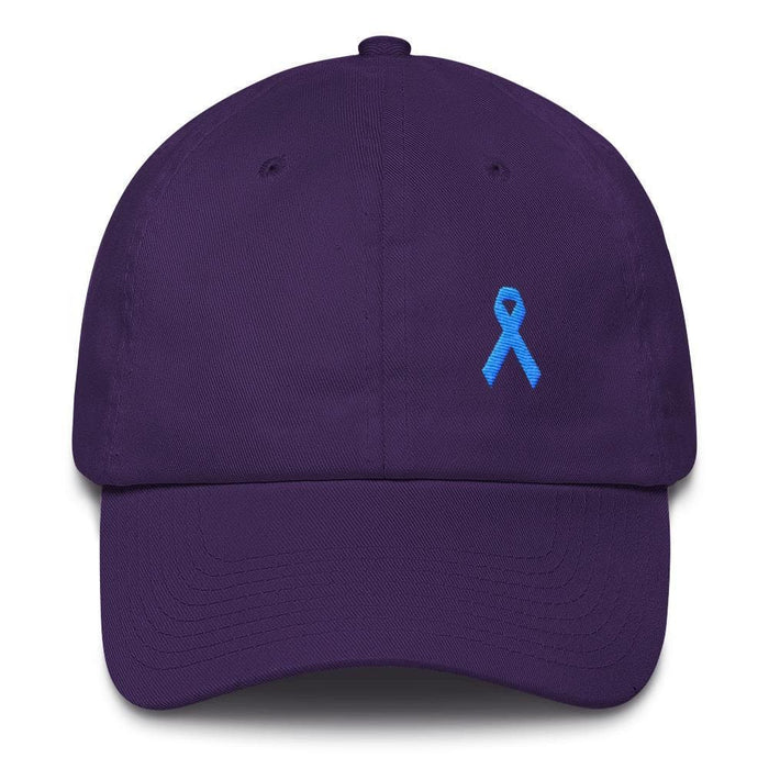 Prostate Cancer Awareness Dad Hat with Light Blue Ribbon - One-size / Purple - Hats
