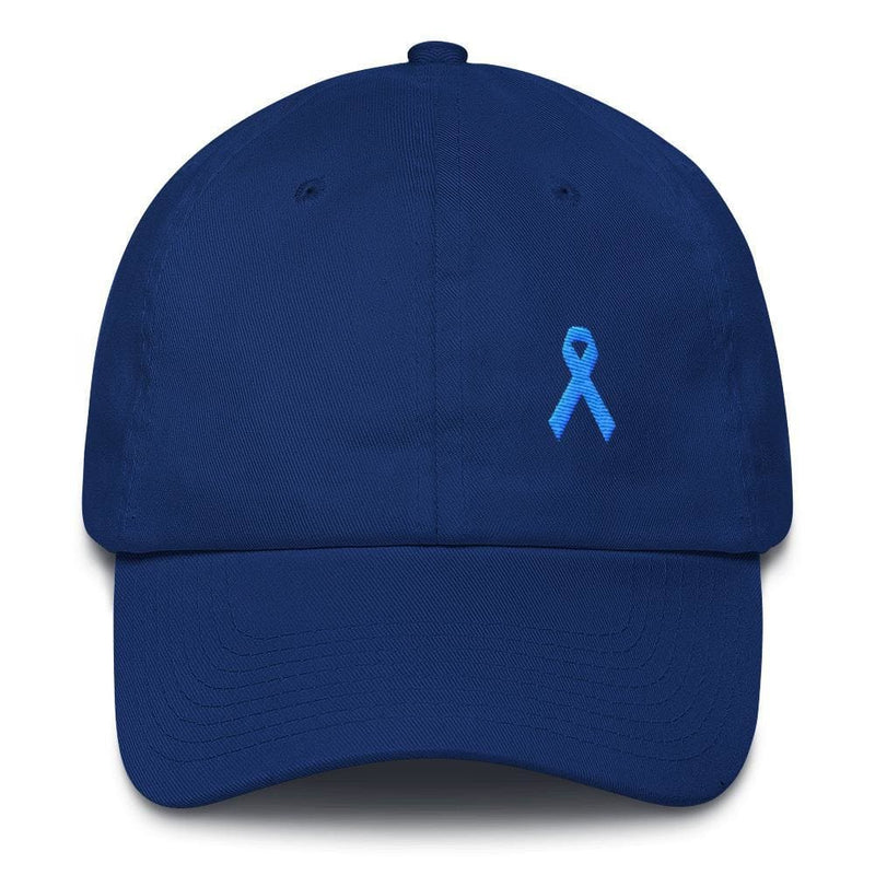 Prostate Cancer Awareness Dad Hat with Light Blue Ribbon - One-size / Royal Blue - Hats