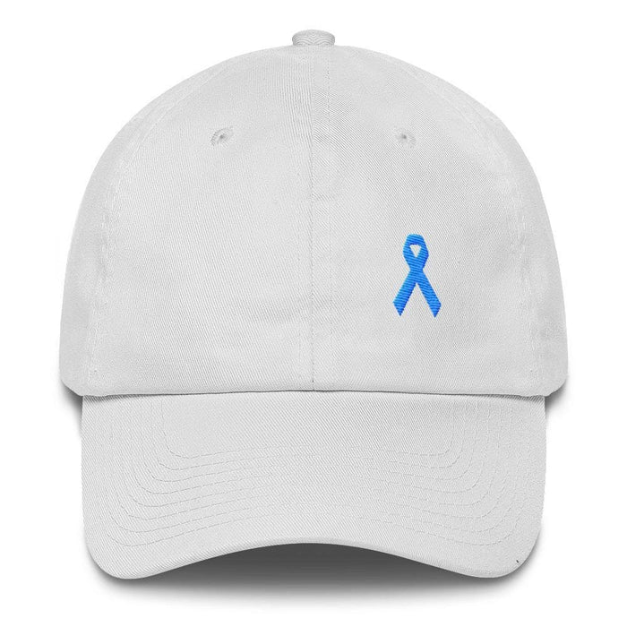 Prostate Cancer Awareness Dad Hat with Light Blue Ribbon - One-size / White - Hats