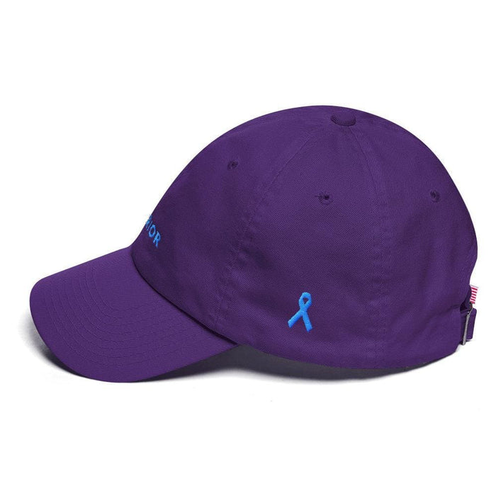 Prostate Cancer Awareness Warrior Dad Hat with Light Blue Ribbon - Hats