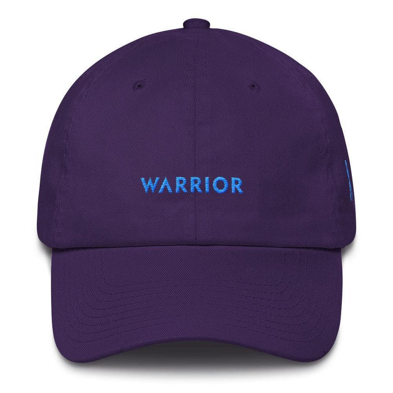 Prostate Cancer Awareness Warrior Dad Hat with Light Blue Ribbon - One-size / Purple - Hats