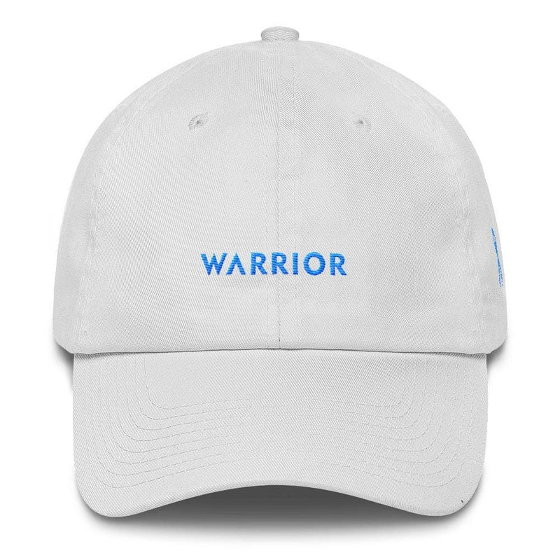 Prostate Cancer Awareness Warrior Dad Hat with Light Blue Ribbon - One-size / White - Hats