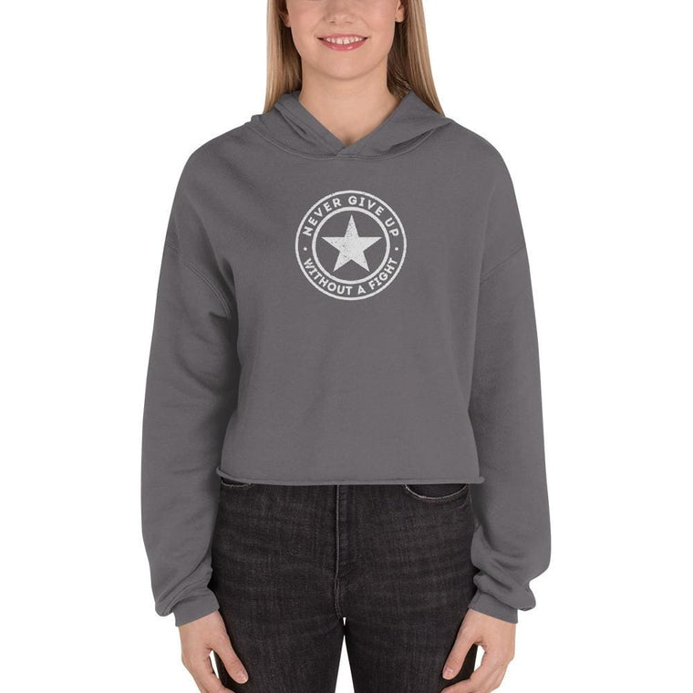 Women's Never Give Up Without a Fight Crop Hoodie