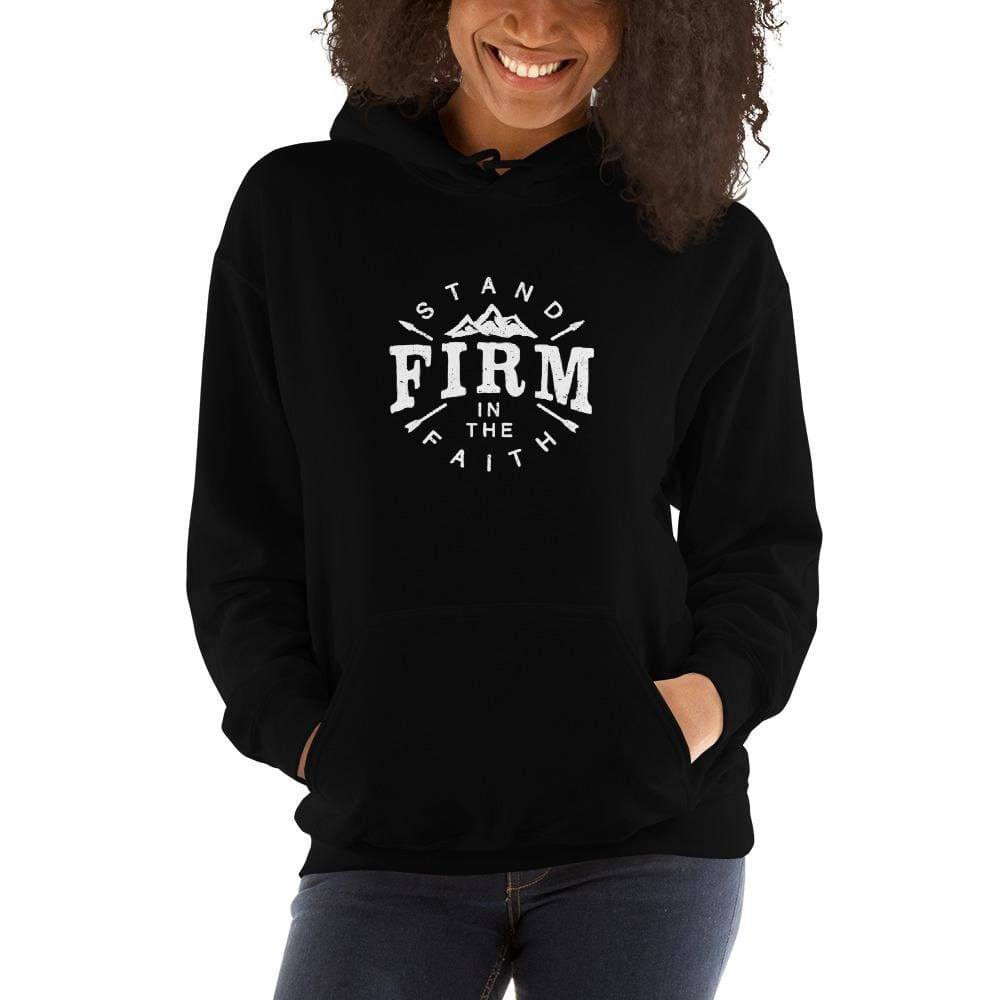 Womens Stand Firm in the Faith Hoodie Sweatshirt - S / Black - Sweatshirts