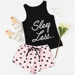 Preppy Letter Print Top and Drawstring Waist Shorts Women Pajama Sets - XS to L