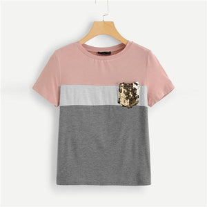 Casual Color Block Cut And Sew Sequin Pocket T-Shirt - WOMENEXY