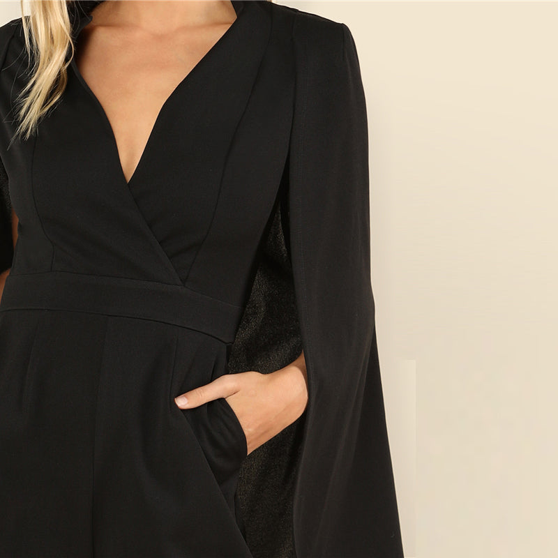 Party Wrap Plunging V-Neck Cloak Long Sleeve Solid High Waist Maxi Women Jumpsuit - Black