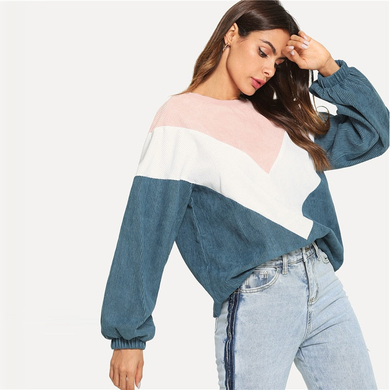 Preppy Cut And Sew Chevron Round Neck Bishop Sleeve Pullovers Colorblock Women Sweatshirts
