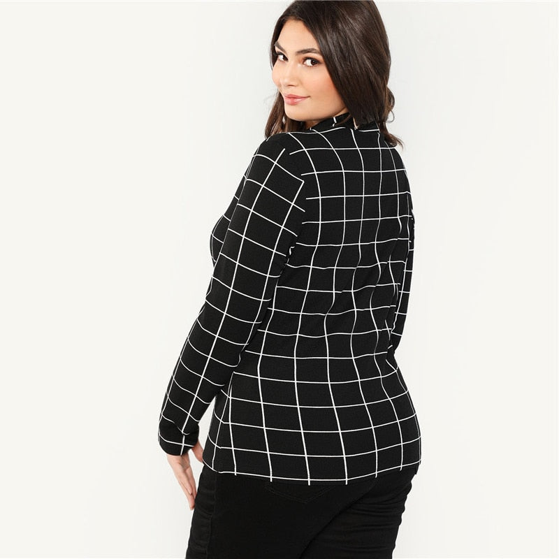 Stand Collar Long Sleeve Slim Fit Plaid Mock Neck Grid Plus Size T-Shirt