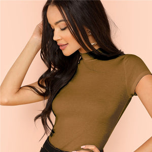 Modern Rib Knit Crop Round Neck Slim Fit T-Shirt - Brown