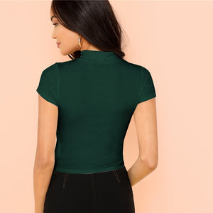 Modern Rib Knit Crop Round Neck Slim Fit T-Shirt - Green