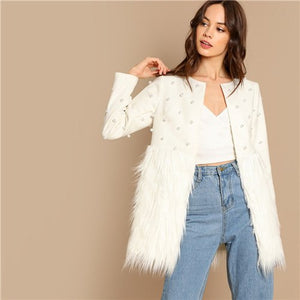 Office Lady Solid Pearl Embellished Faux Fur Round Neck Jacket