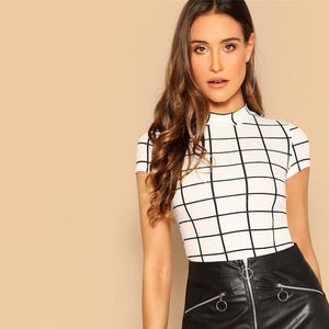 Casual Plaid Peplum Stand Collar Belted Top - White - WOMENEXY