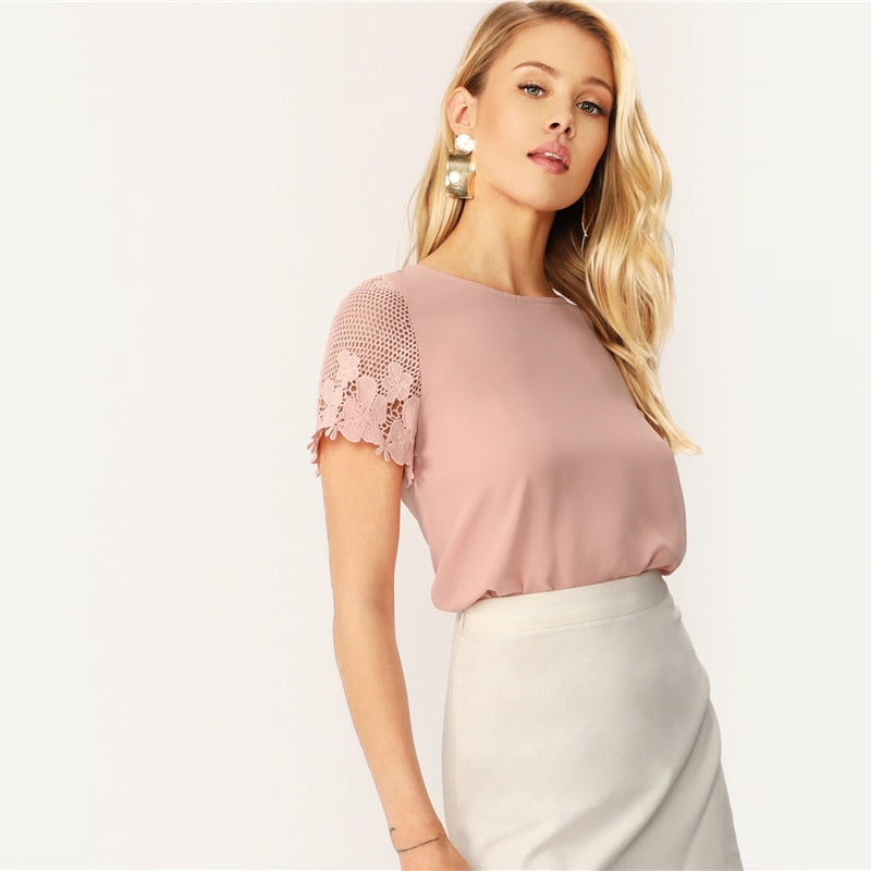 Casual Scallop Hem Lace Sleeve Women Blouse - Pink - WOMENEXY