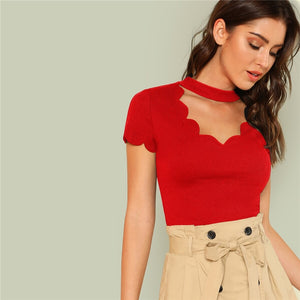 Elegant Mock Neck Scallop Trim Cut Out V-Collar Short Sleeve Solid Tee - Red