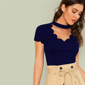 Elegant Mock Neck Scallop Trim Cut Out V-Collar Short Sleeve Solid Tee - Navy Blue