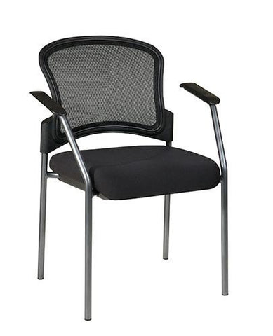Office Star Pro-Line II 86710-30 ProGrid Contour Back Titanium Finish Visitors Chair with Arms - Peazz Furniture