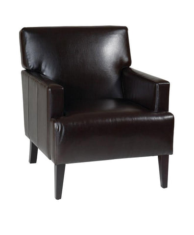 Office Star Ave Six CAR51A-EBD Carrington Arm Chair in Espresso Eco Leather - Peazz Furniture