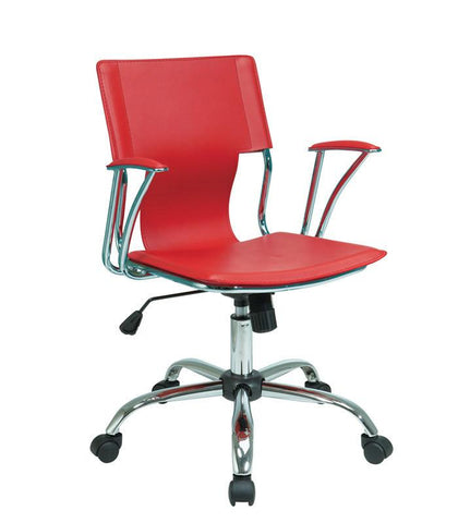 Office Star Ave Six DOR26-RD Dorado Office Chair with Fixed Padded Arms and Chrome Finish in Red - Peazz Furniture