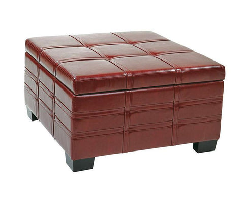 Office Star Ave Six DTR3030S-CBD Detour Strap Ottoman with Tray in Crimson Red Eco Leather - Peazz Furniture