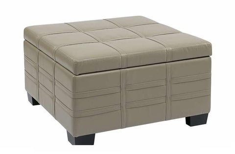 Office Star Ave Six DTR3030S-CMBD Detour Strap Ottoman with Tray in Cream Eco Leather - Peazz Furniture