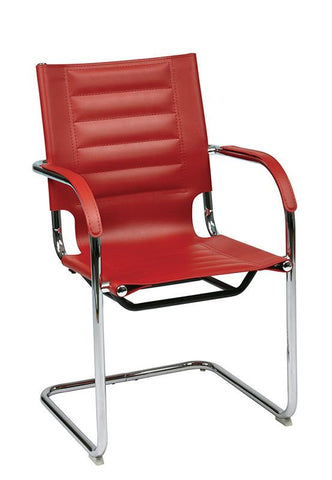 Office Star Ave Six TND945A-RD Trinidad Guest Chair in Red Vinyl - Peazz Furniture