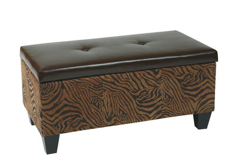 Office Star Ave Six DTR2036-W10 Detour Storage Bench in Wild Espresso - Peazz Furniture