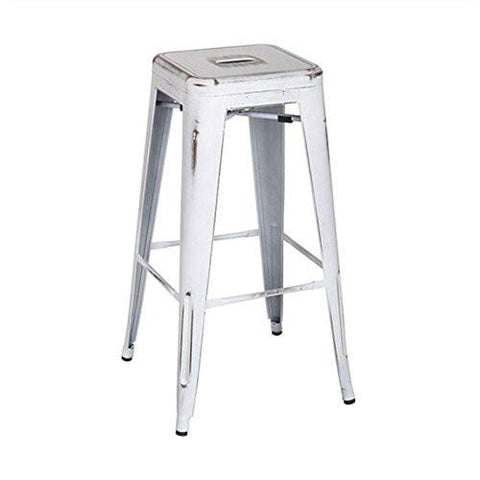 "OSP Designs BRW3030A4-AW Bristow 30"" Antique Metal Barstool, Antique White Finish, 4 Pack - Peazz.com"
