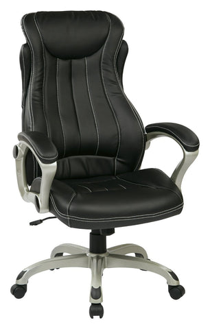 Work Smart ECH31826-EC3 Eco Leather Executive Manger's Chair (Silver/Black) - Peazz.com
