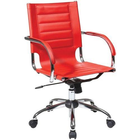 Office Star Ave Six TND941A-RD Trinidad Office Chair With Fixed Padded Arms and Chrome Finish in Red - Peazz Furniture