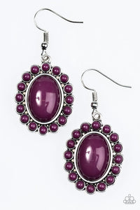 "Paparazzi ""Floral Fest"" Purple Beads Stone Silver Tone Earrings Paparazzi Jewelry"