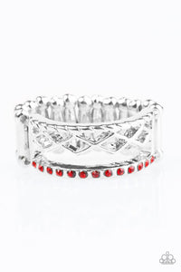 "Paparazzi ""Money Makin' Monday"" Red Rhinestone Silver Tone Ring Paparazzi Jewelry"