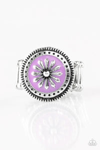 "Paparazzi ""Free-Spirited Flower"" Purple Accent Silver Daisy Design Ring Paparazzi Jewelry"