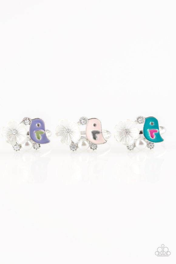 Girl's Starlet Shimmer Set of 5 Multi Color Bird White Flower Pearl & Rhinestone Rings Paparazzi Jewelry