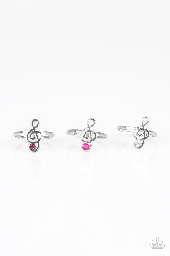 Girl's Starlet Shimmer Set of 5 Multi Color Rhinestone Musical Note Treble Cleft Silver Rings Paparazzi Jewelry