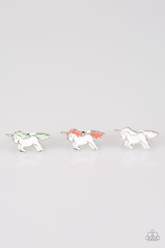 Girl's Starlet Shimmer Set of 5 Multi Color Unicorn Silver Rings Paparazzi Jewelry