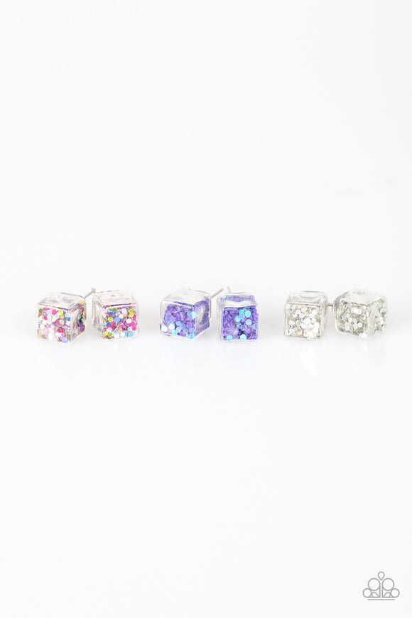 Girl's Starlet Shimmer Silver Multi Color Clear Cube Confetti Set of 5 Silver Post Earrings Paparazzi Jewelry
