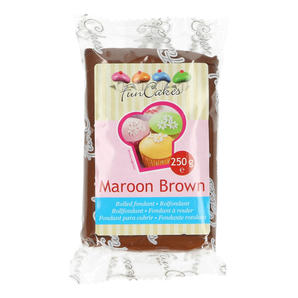FunCakes Sugar Paste Maroon Brown 250g