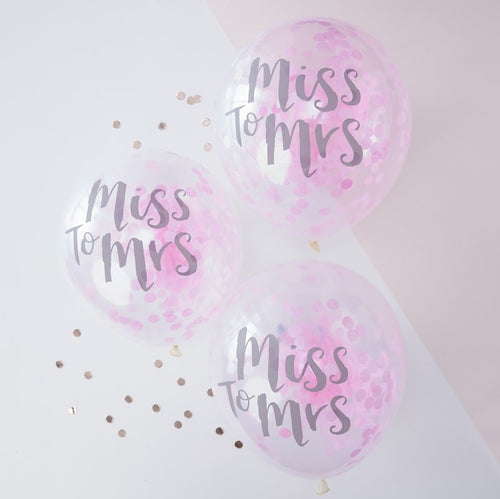 Miss to Mrs  Confetti Balloons Pk 5
