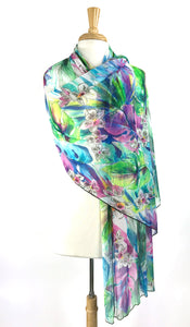 BYANDA Sheer Long & Wide Print Shawl